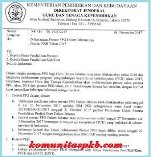 Jadwal Pretest PPG Dalam Jabatan dan Postest PKB 2017 Tahun 2017