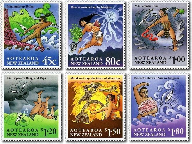 Maori Mythology: Virtual New Zealand Stamps: 1994 Maori Myths & Legends