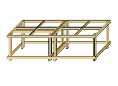 A digital 3D rendering of a 4 x 8 benchwork table