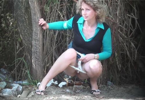 PissHunters 9107-9122 (Girls pee outdoors hidden camera. Hidden cam in public toilet)