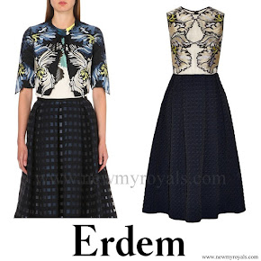 Countess Sophie of Wessex Style Erdem Embroidered cropped jacket and Erdem Shirlette embroidered matelassé dress
