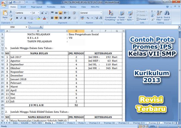 Contoh Prota Promes IPS SMP Kelas VII Kurikulum 2013 Tahun 2019-2020