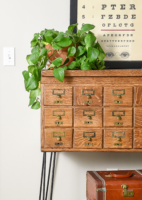 How to refinish a vintage card catalog