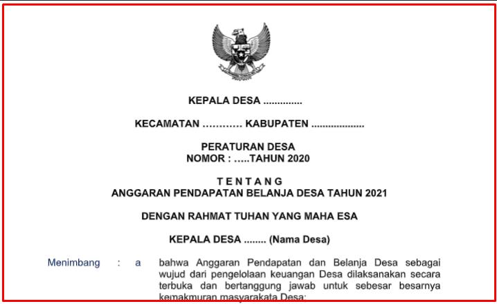 ditetapkan oleh Kepala Desa paling lambat tanggal  Download Lengkap Perdes APBDes Tahun 2021 dan Perkades Penjabarannya