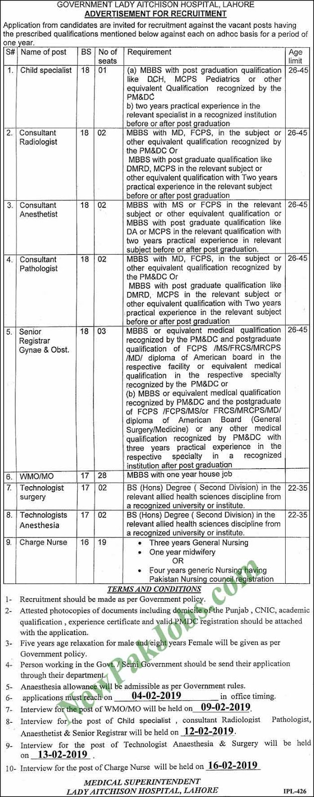 61 Jobs in Government Lady Aitchison Hospital 2019