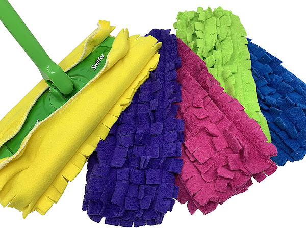 Image: Xanitize Fleece Sweeper Mop Refills for Swiffer - Reusable, Dry Duster, for Hardwoods, Laminates - 5-pack Rainbow II