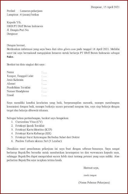 Contoh Application Letter Untuk Sales (Fresh Graduate) Berdasarkan Informasi Dari Website