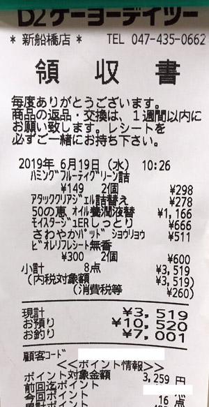 ケーヨーデイツー 新船橋店 2019/6/19 D2のレシート