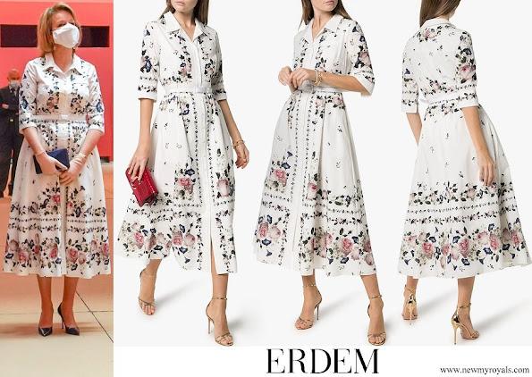 Queen Mathilde wore Erdem Kasia Floral Print Cotton Shirt Dress