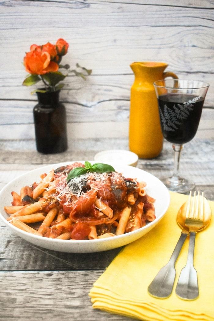 Aubergine and tomato penne pasta