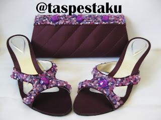 Handmade Tas Pesta dan Sandal Warna Ungu Cantik