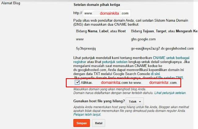 Cek Alihkan ke www. domainkita