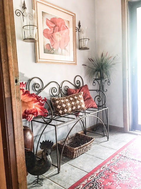 rustic red and gray entry way