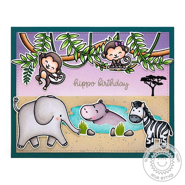 Sunny Studio Stamps: Tropical Scenes Savanna Safari Love Monkey Birthday Card by Anja Bytyqi