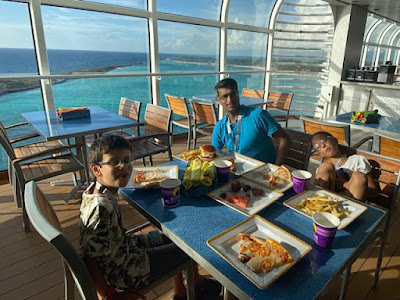 Food aboard the Disney Fantasy docked at Castaway Cay