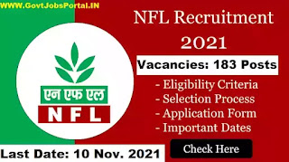 NFL Recruitment 2021 for 183 Non-Executive Posts