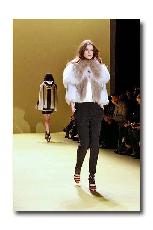 98a203a033 Off white and taupe knitted fox cape with silk straight pant