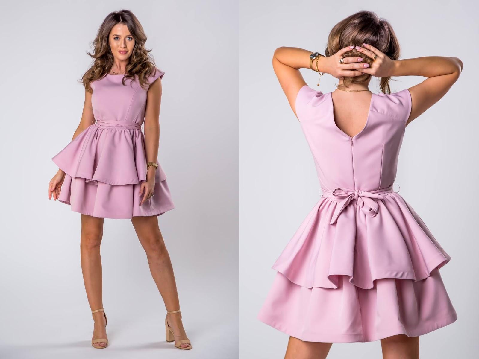 Koktajlowa sukienka z falbanami, wiązaniem w pasie i dekoltem w serek na plecach ptakmoda.com