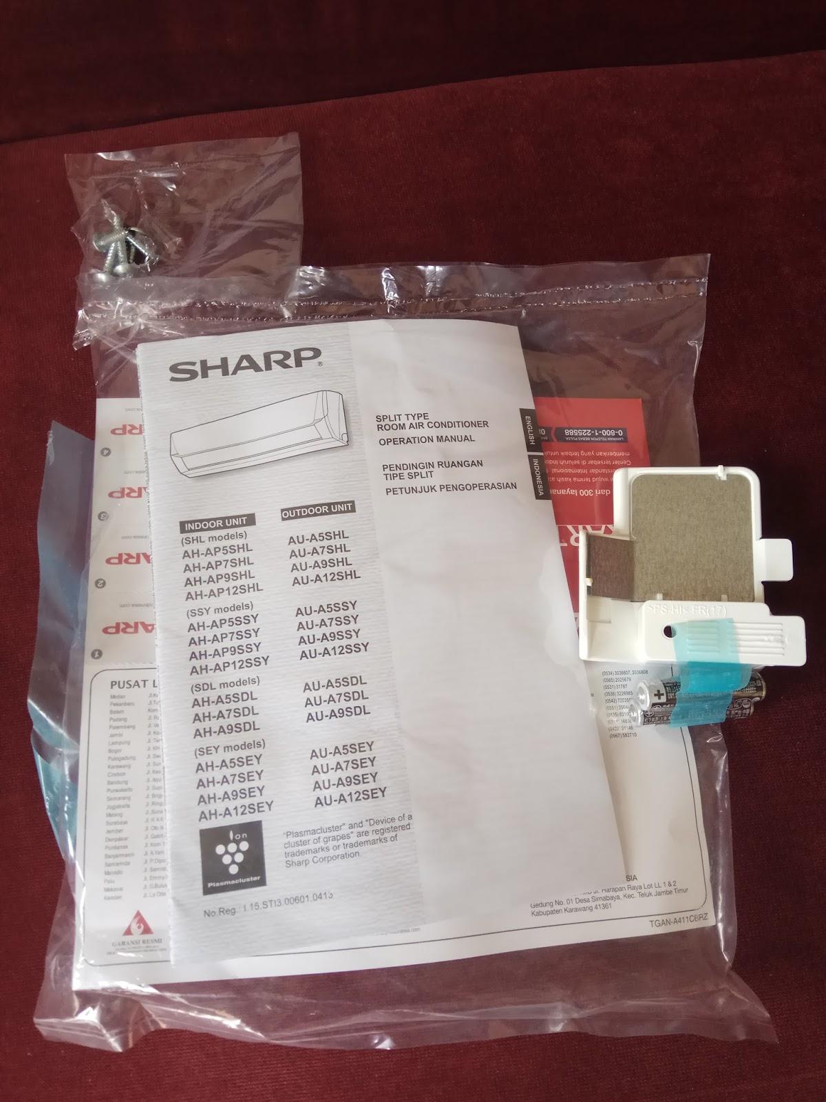Pengalaman Membeli Ac Sharp Ah A5sey Mambo Djumbo 1 Pk A9sey Gratis Biaya Pengiriman Kartu Garansi Buku Petunjuk Remote Dan Baut Yang Merupakan Kelengkapan Dari Paket Pembelian