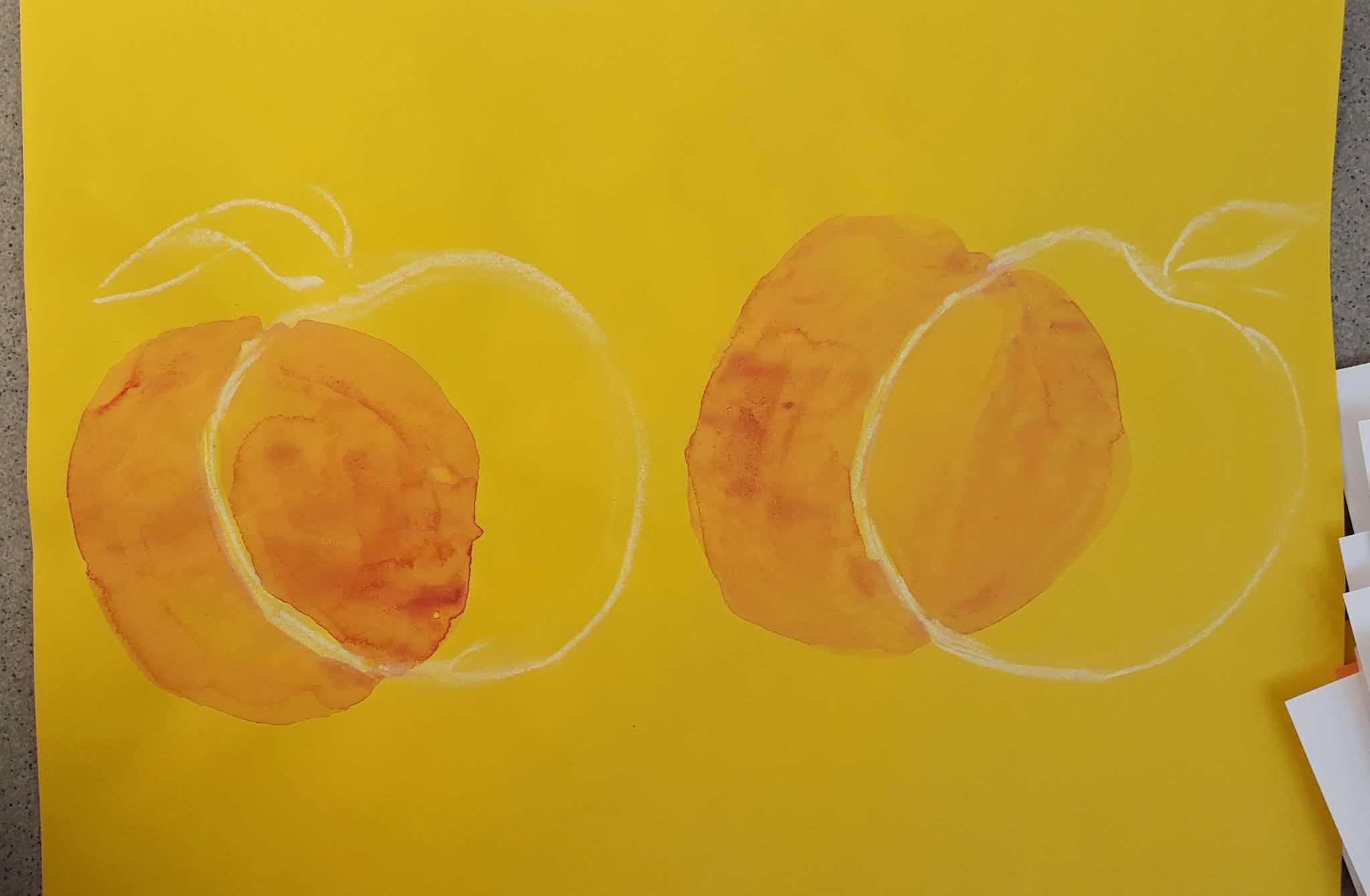 Vesiväreillä ja liidulla tehdyt persikat