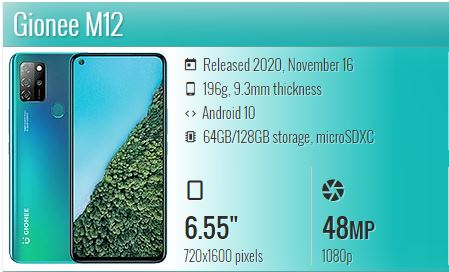 GIONEE M12 Reported WITH HELIO P22, 48MP CAMERA AND 5000MAH BATTERY