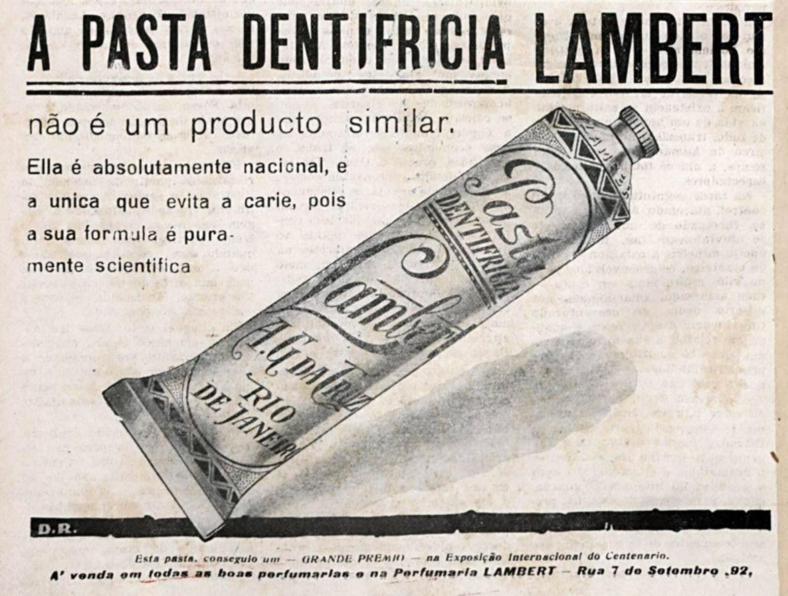 Propaganda antiga veiculada em 1924 para promover a pasta dentifrícia Lambert