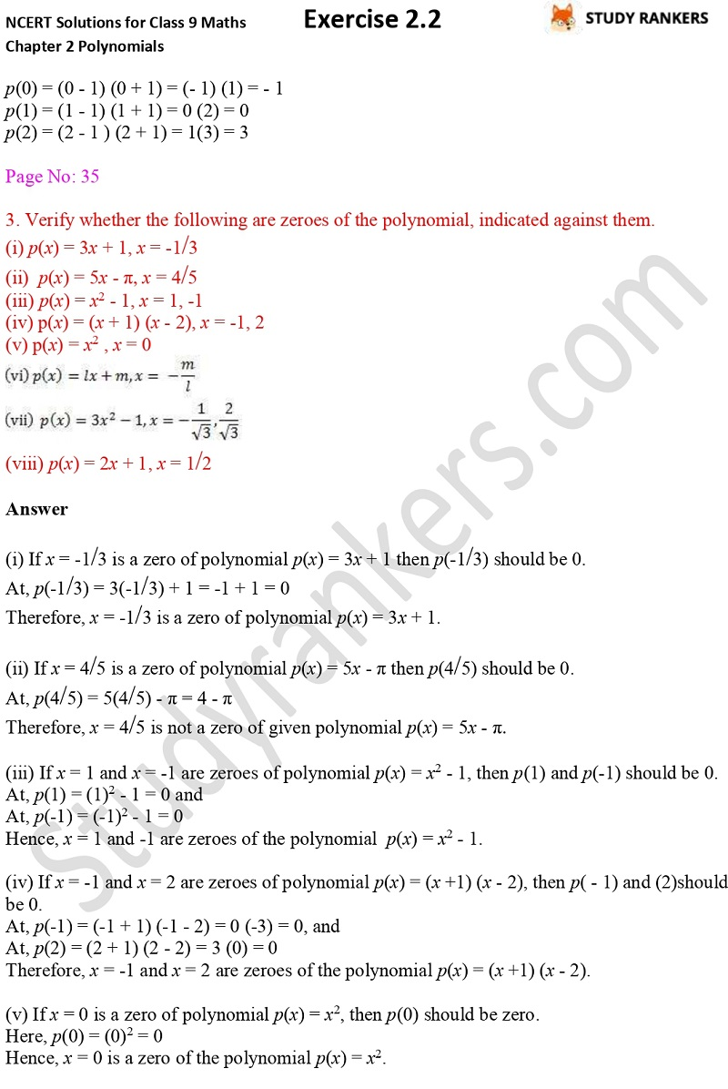 NCERT Solutions for Class 9 Maths Chapter 2 Polynomials Exercise 2.2 Part 2
