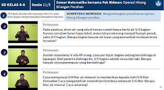 Soal dan Jawaban Gemar Matematika bersama Pak Ridwan Operasi Hitung Bilangan Pecahan