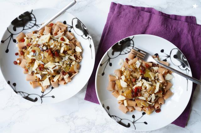 pâtes aubergines oignons parmesan ferme lafouasse recette veggie estival