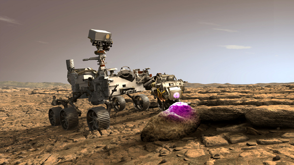 An artist's concept of NASA's Perseverance Mars rover scanning a rock for microbial fossils with its PIXL device.