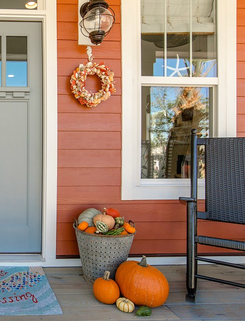 Beach Cottage with Orange Exterior Color