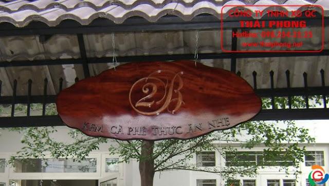 Mẫu chữ gỗ bảng hiệu cà phê kem