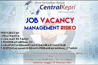 Lowongan Kerja Bank Central Kepri (Ditutup 19 Februari 2021)