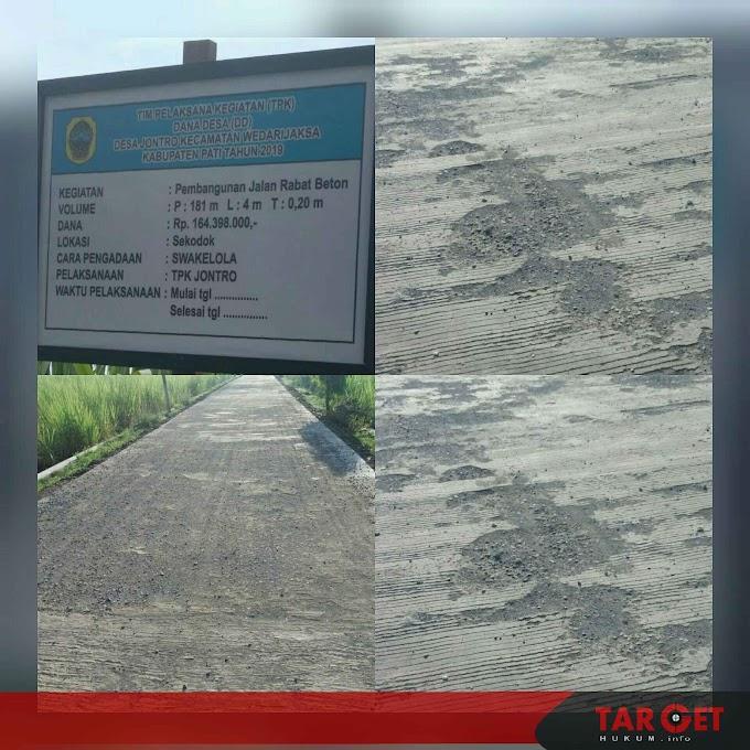 Pembangunan Rabat Beton Yang Bersumber Dari Dana Desa Tidak Sesuai RAB dan Terkesan Asal Jadi