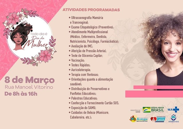 ARATUÍPE: Semana da Mulher Prefeitura promove programação especial