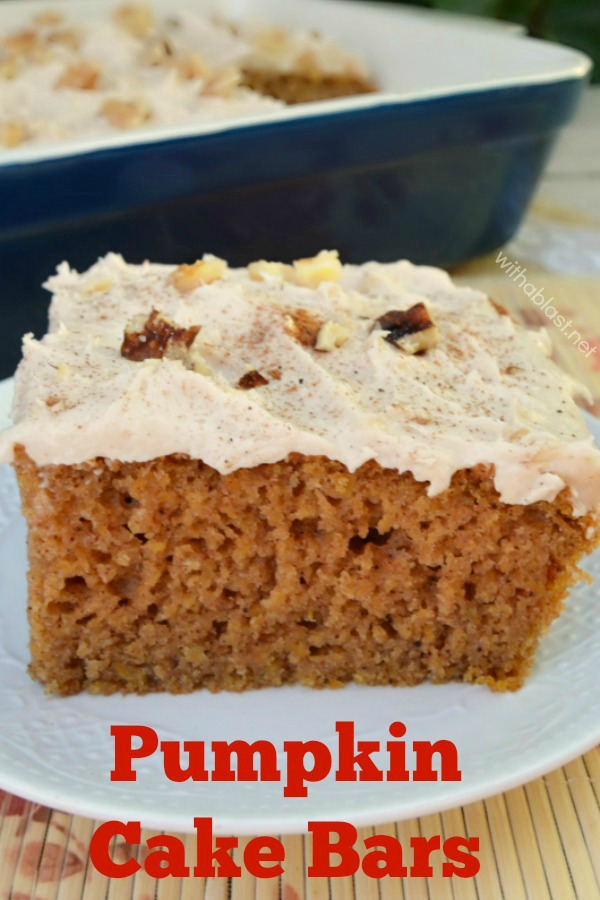 Quick, easy and sooo delicious recipe for moist Pumpkin Cake Bars - around 15 servings #PumpkinCake #PumpkinDessert #FallDessert #EasyPumpkinCake