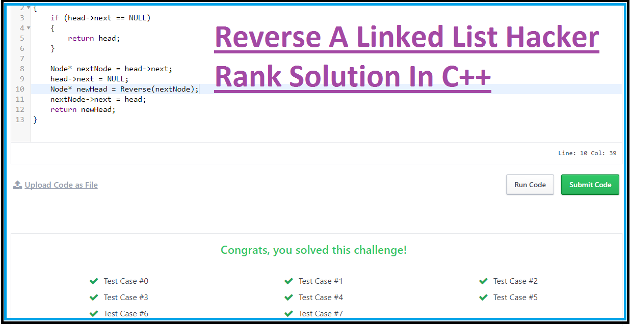 Reverse A Linked List Hacker Rank Solution In C++