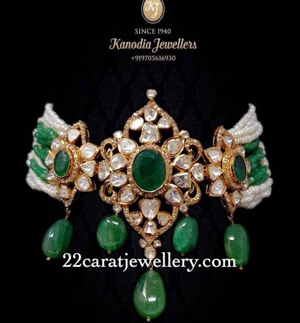 Uncut Diamond Chokers by Omprakash Jewellers