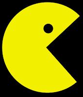 Imagen del ComeCocos. Círculo amarillo al que le falta una porción. Un punto negro declara su ojo