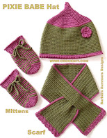 how to crochet, hats, pixie, keyhole scarf, mittens, crochet patterns,