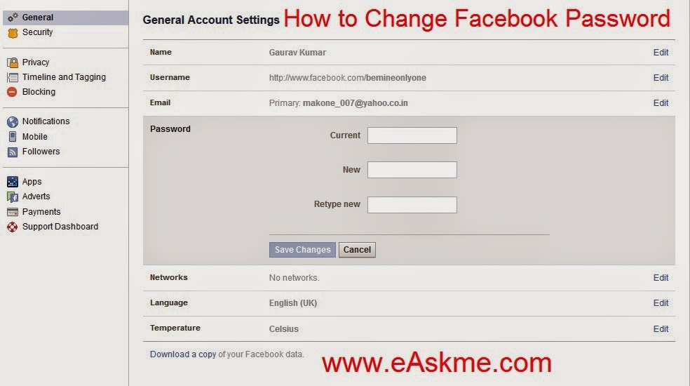 How to Change Facebook Password : eAskme