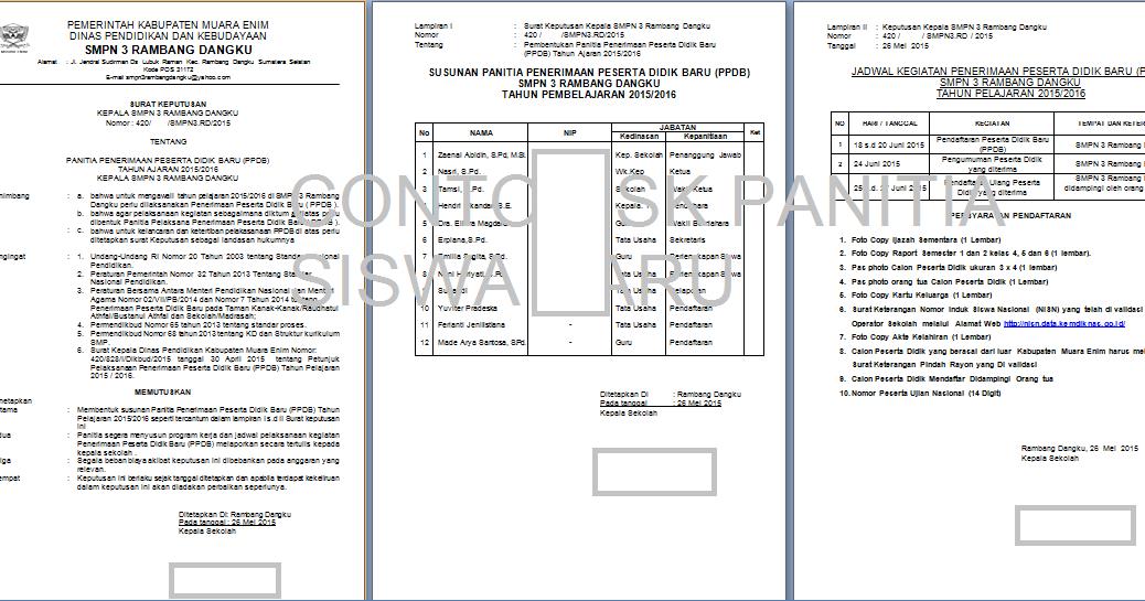 Contoh Surat Keputusan Panitia Penerimaan Siswa Baru Psb