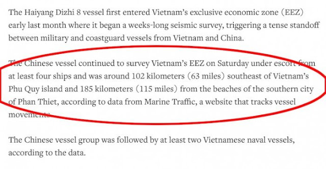 Tàu Hải Dương 8 Trung Quốc hoạt động gần bờ biển Phan Thiết, chưa thấy truyền thông VN lên tiếng?