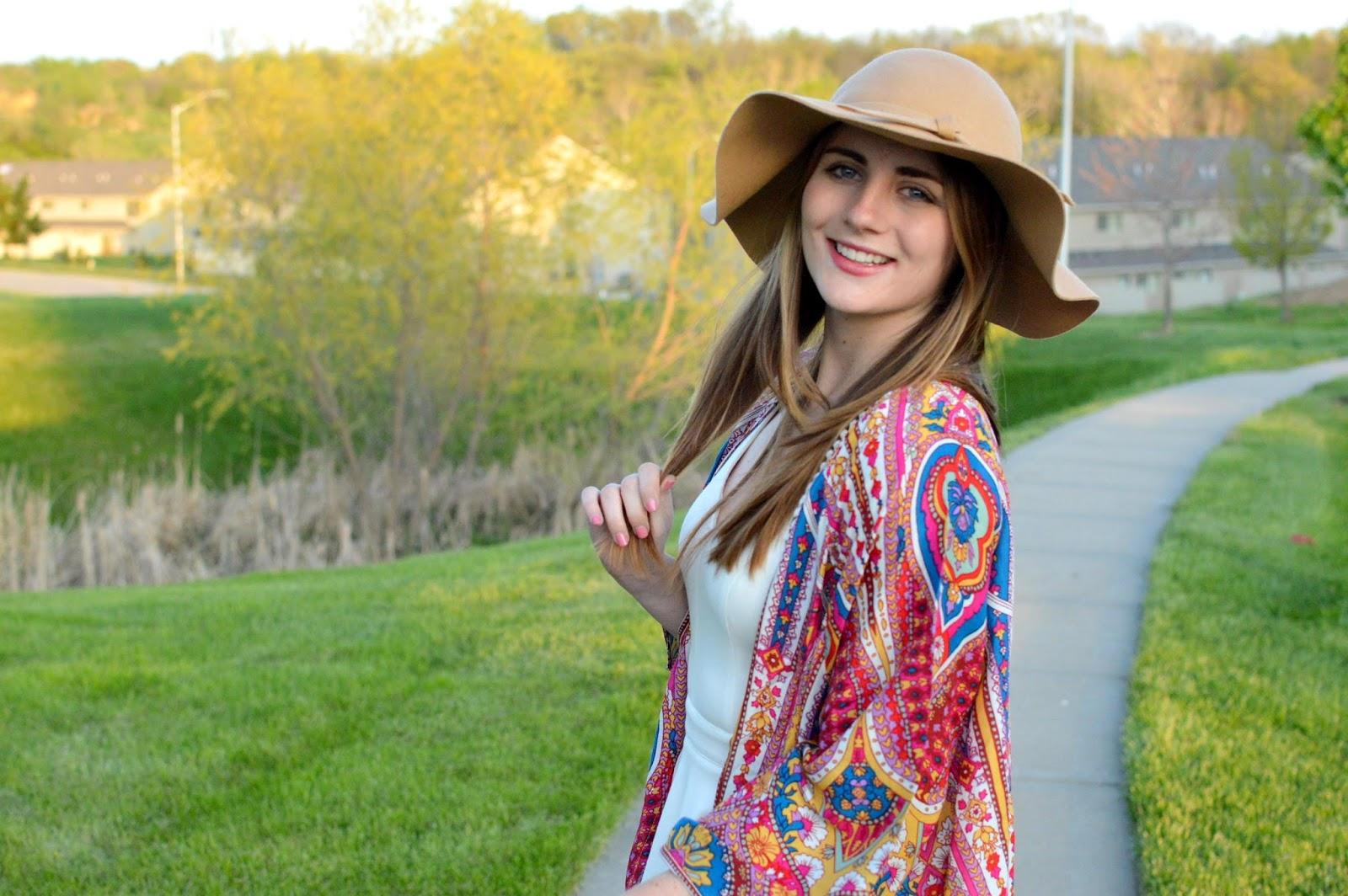bright kimono with a floppy hat