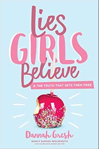 Pink text saying Lies Girls Believe on a light blue background.