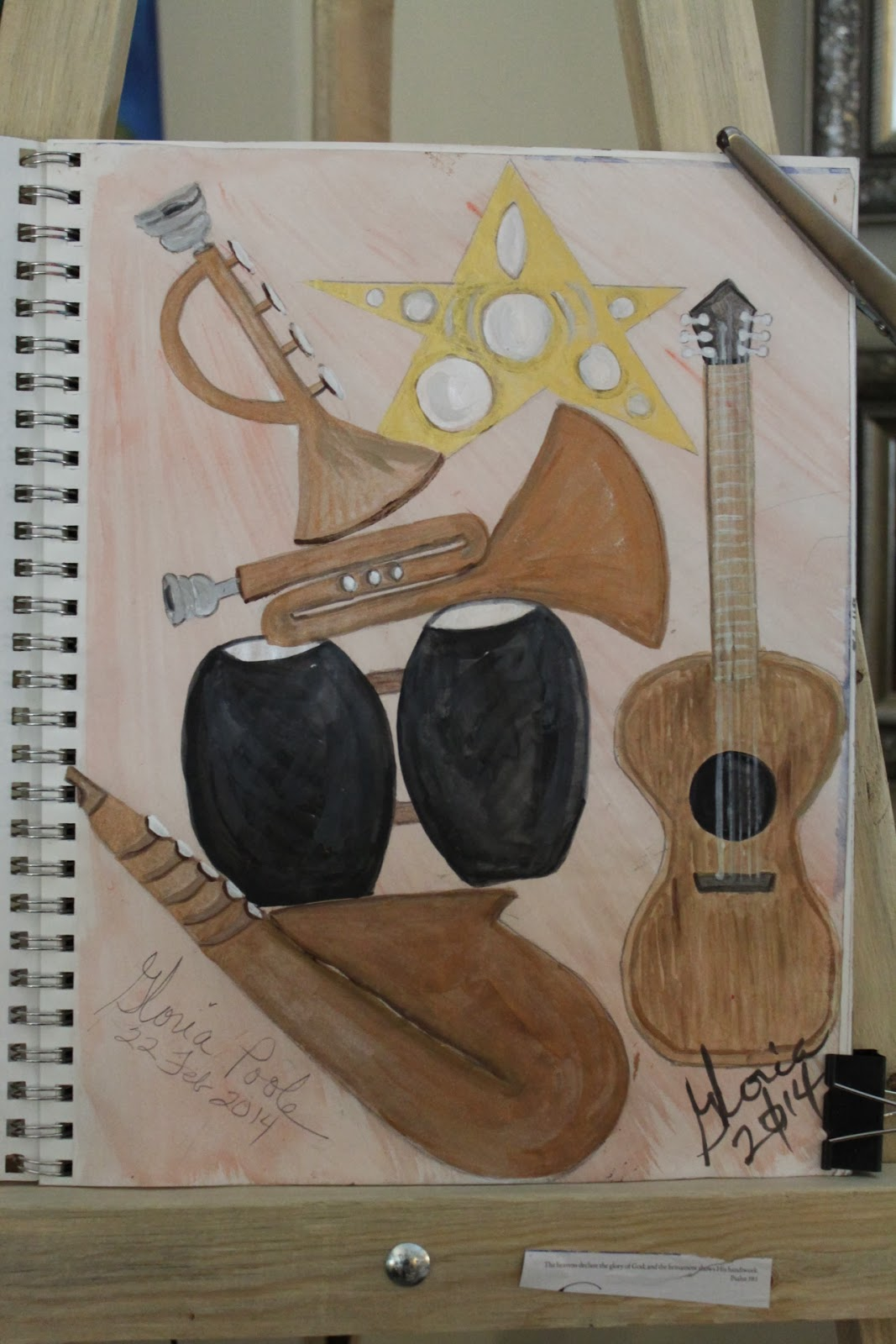 """Make a joyful noise"" sketch by Gloria Poole of Missouri; 22-Feb-2014; in mixed media."