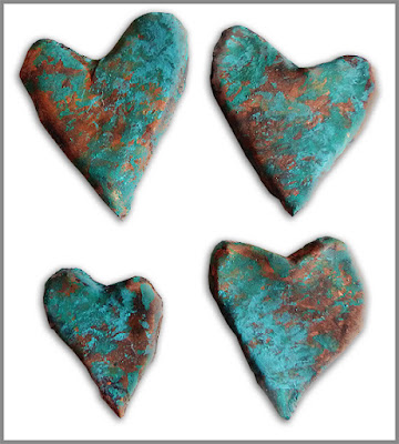 copper hearts painted to look like patina