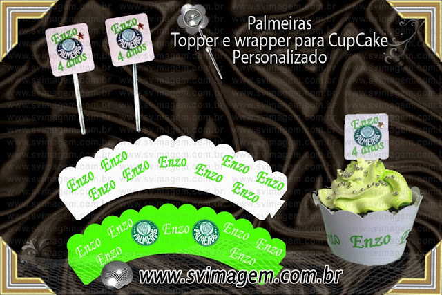 preço especial para o personalizado de saia e topper de cupcake para o palestra Palmeiras