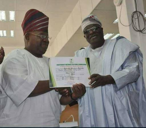 Photo: INEC issues certificate of return to Davido's uncle