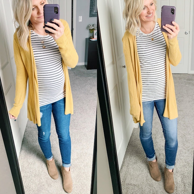 Maternity jeans and yellow cardigan